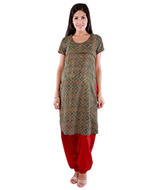 Morph Maternity Nursing Short Sleeves Kameez - Dark Green