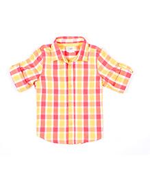 Nahshonbaby Full Sleeves Shirt Checks Print - Yellow Red
