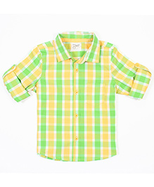 Nahshonbaby Full Sleeves Shirt Checks Print - Yellow Green