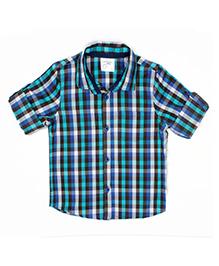 Nahshonbaby Full Sleeves Shirt Checks Print - Blue Green