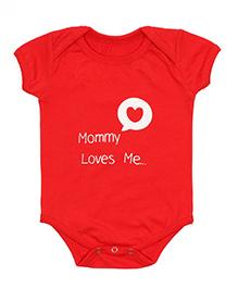 Nahshonbaby Half Sleeves Onesie Mommy Loves Me Print - Red