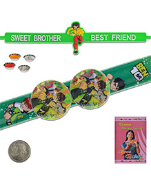 Litte India Ben 10 Design Flexible Strap Design Rakhi And Sweet Brother Quote Rakhi