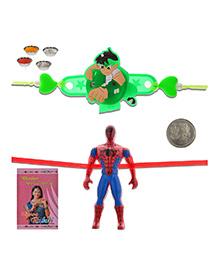 Litte India Amazing Spiderman Rakhi And Ben 10 Design LED Lighting Rakhi