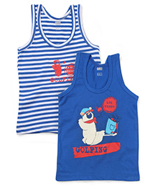 Simply Sleeveless Vest Golfing Print Set of 2 - White And Royal Blue