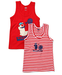 Simply Sleeveless Vest Golfing Print Set of 2 - White And Red