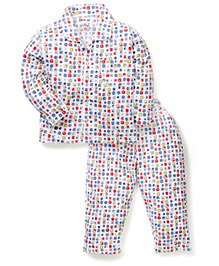 Doreme Full Sleeves Night Shirt And Pajama Set Squares Print - White