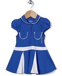 Doreme Puff Sleeves Frock - Blue White