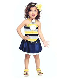 N - XT Singlet Stripes Top With Appliques And Denim Skirt - Yellow & Blue