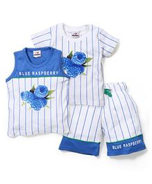 N-XT T-ShirtAnd Shorts Combo Set Raspberry Print - Royal Blue And White