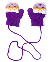 Model Animal Knit Design Mittens - Purple