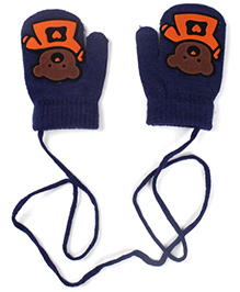 Model Mittens With Bear Patch - Navy