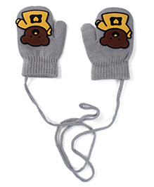 Model Mittens With Bear Patch - Grey