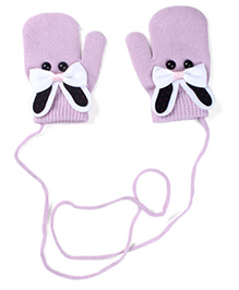 Model Mittens With Bunny Design - Light Purple