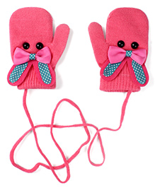 Model Mittens With Bunny Design - Fuchisa Pink