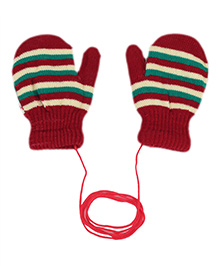 Model Stripe Hand Gloves - Maroon