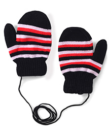 Model Stripe Hand Gloves - Black