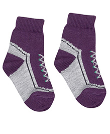 Model Ankle Length Winter Socks - Purple Grey