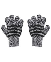 Model Warm Gloves With Striped In Dual Color Shade - Black & Grey