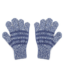 Model Warm Gloves With Striped In Dual Color Shade - Blue & Grey