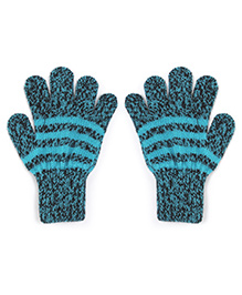 Model Warm Gloves With Striped In Dual Color Shade - Cyan & Black
