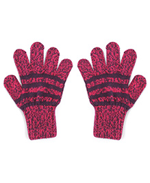 Model Warm Gloves With Striped In Dual Color Shade - Lavender & Dark Pink