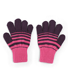 Model Warm Gloves With Striped In Dual Color Shade - Lavender & Pink