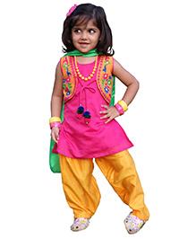 BunChi Sleeveless Hand Embroidered Pom Pom Kurta Salwar Set - Pink & Yellow