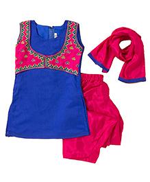 Bunchi Hand Embroidered Kurta Salwar Set - Blue & Pink