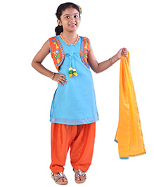Bunchi Hand Embroidered Pom Pom Kurta Salwar Set - Blue & Orange
