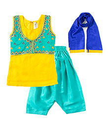 Bunchi Hand Embroidered Kurta Salwar Set - Blue & Yellow