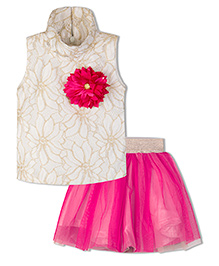 Stupa Fashion Flower Two Piece Tutu Skirt Top For Party  - Magenta