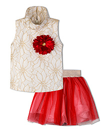 Stupa Fashion Flower Two Piece Tutu Skirt Top For Party  - Red