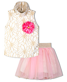 Stupa Fashion Flower Two Piece Tutu Skirt Top For Party  - Pink