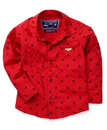 Jash Kids Full Sleeves Shirt Triangle Print - Red