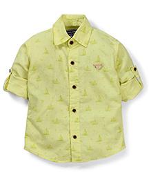 Jash Kids Full Sleeves Shirt Ship Print - Lemon Green