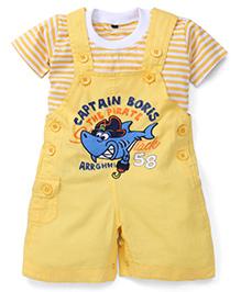 Jash Kids Half Sleeves Dungaree Style Romper with Inner T-Shirt Captain Boris Print - Yellow & White