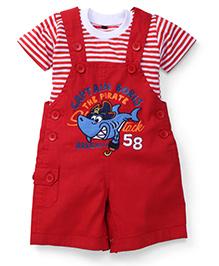 Jash Kids Half Sleeves Dungaree Style Romper with Inner T-Shirt Captain Boris Print - Red & White