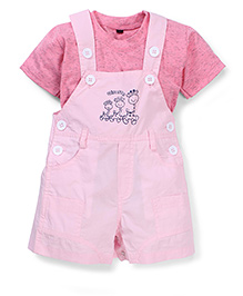 Jash Kids Half Sleeves Dungaree Style Romper with Inner T-Shirt Giraffe Print - Pink