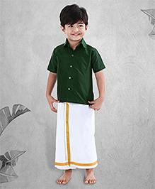 Babyhug Half Sleeves Shirt And Lungi Set - Dark Green White