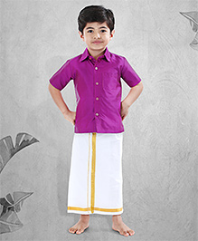 Babyhug Half Sleeves Shirt And Lungi Set - Purple White