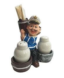 EZ Life Funny Waiter Salt & Pepper Shaker Bottles & Toothpick Holder - Multi Color