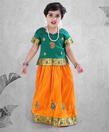 Babyhug Half Sleeves Embroidered Pavadai Set - Yellow Green