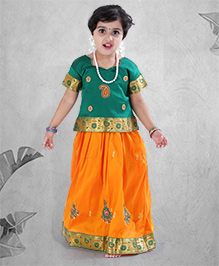 Babyhug Half Sleeves Embroidered Pavadai Set - Yellow Green