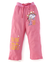 Chhota Bheem Full Length Track Pant With Shine Like The Star Print - Pink