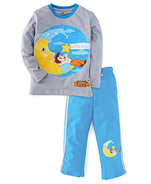 Chhota Bheem Full Sleeves Night Suit With Good Night Print - Grey & Teal Blue