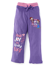 Chhota Bheem Full Length Track Pant With Find Joy In Every Day Print - Purple