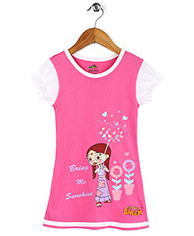 Chhota Bheem Short Sleeves Nighty Chutki Print - Pink White