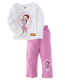 Chhota Bheem Full Sleeves Top And Pajama Chutki Print - White Pink