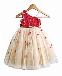 Flutterbows Secret Garden Dress - Red & Beige
