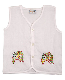 NeedyBee Hand Embroidered Caterpillar Design Sleeveless Jhabla - White